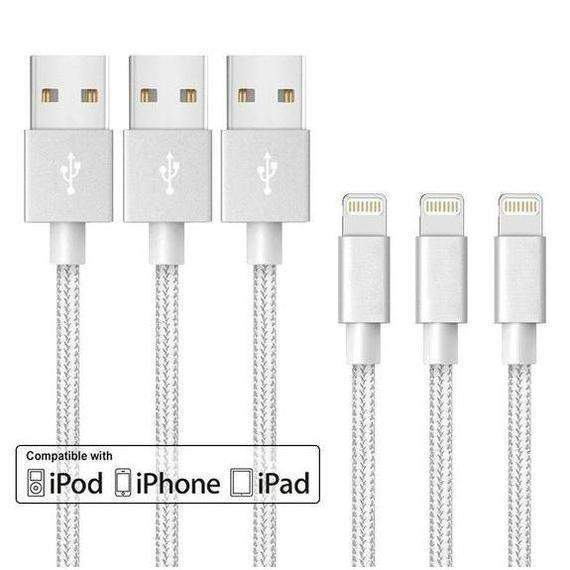 [3-Pack] 10 Foot Apple MFi-Certified Braided Lightning Cables - 5 Colors-White-Daily Steals