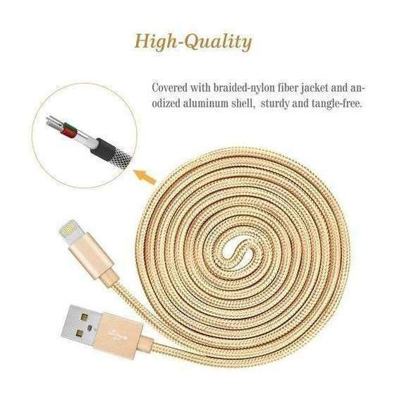 [3-Pack] 10 Foot Apple MFi-Certified Braided Lightning Cables - 5 Colors-Daily Steals