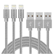 [3-Pack] 10 Foot Apple MFi-Certified Braided Lightning Cables - 5 Colors-Silver-Daily Steals