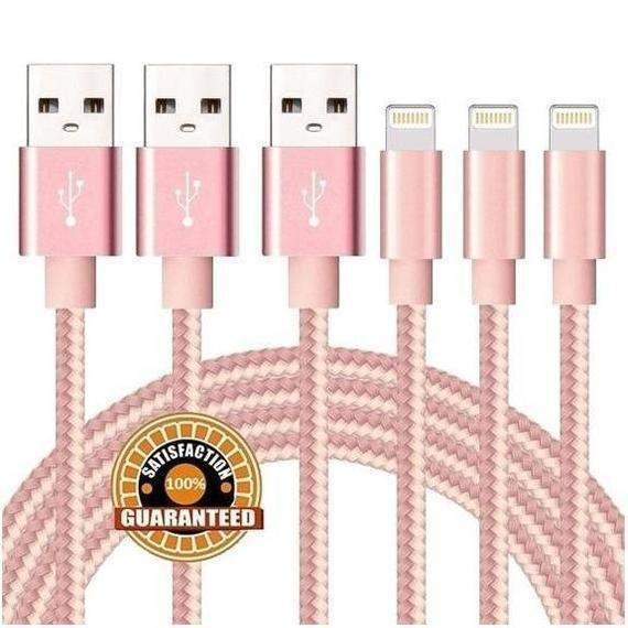 [3-Pack] 10 Foot Apple MFi-Certified Braided Lightning Cables - 5 Colors-Pink-Daily Steals