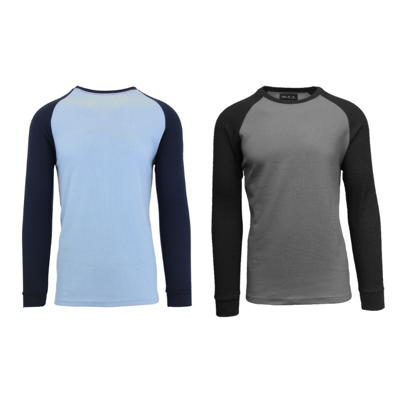 Men's Raglan Thermal Shirt - 2 Pack-Sky Blue/Navy & Charcoal/Black-Small-Daily Steals