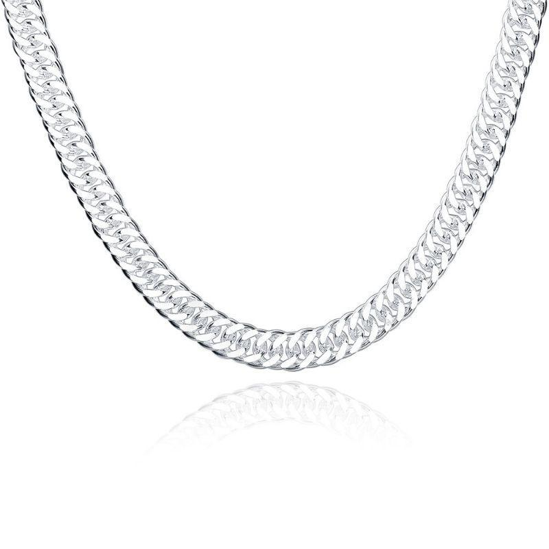 10mm Cuban Curb Link Necklace Chain in 18K White Gold Filled-