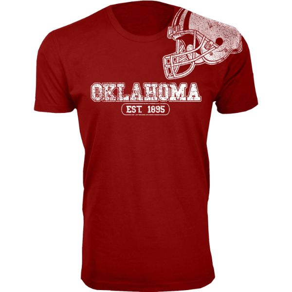 Men's Awesome College Football Helmet T-Shirts-S-Oklahoma - Burgundy-Daily Steals