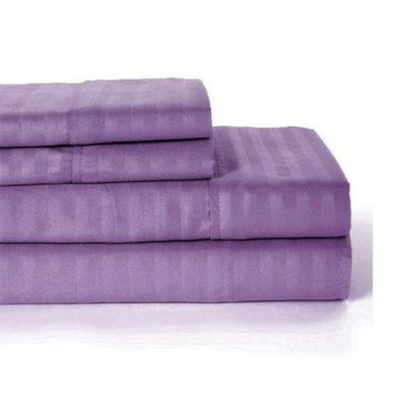 Ultra-Soft Lux Decor Striped 1800 Series Sheets-Purple-Twin-Daily Steals