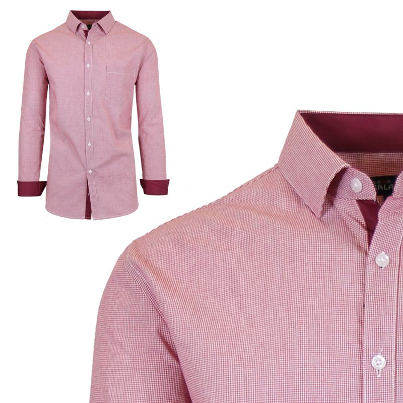 Mens Long Sleeve Slim-Fit Cotton Dress Shirts W/ Chest Pocket-Red/White-Small-Daily Steals