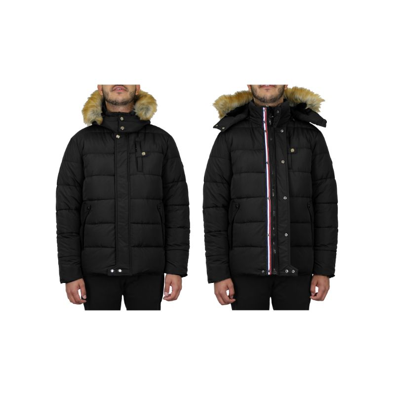 Men's Heavyweight Jacket With Detachable Hood-Black-Small-Daily Steals