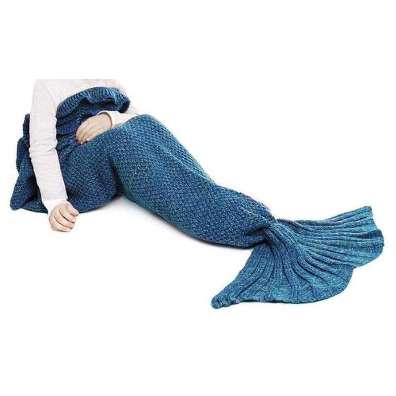 Mermaid Tail Knit Crochet Warm & Soft Blanket for Kids and Adults-Kids-Lake Blue-Daily Steals