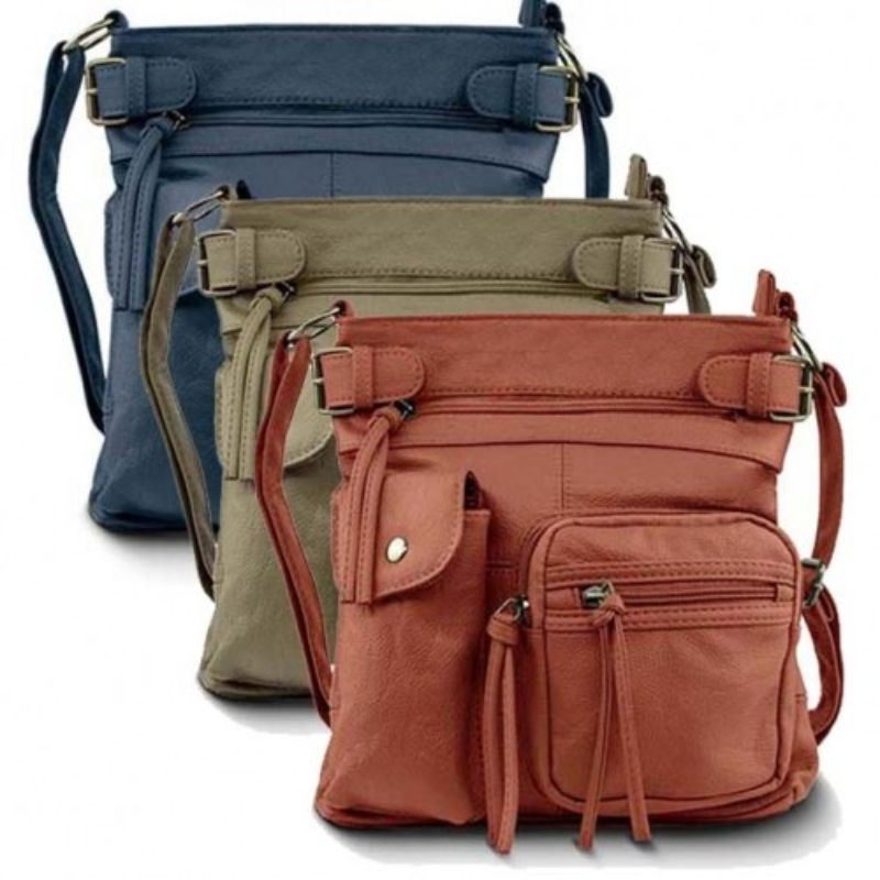 Super Soft Genuine Leather Top Belt Accent Crossbody Bag - 5 Colors-Daily Steals
