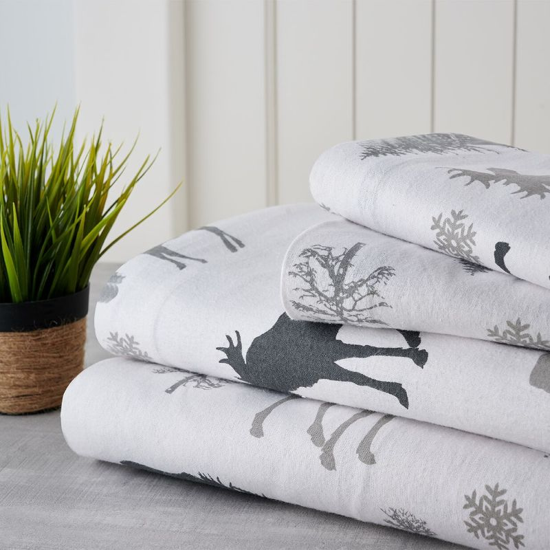 Bibb Home Holiday & Winter Printed Flannel Sheet Set 100% Cotton-Twin-Grey Moose-Daily Steals