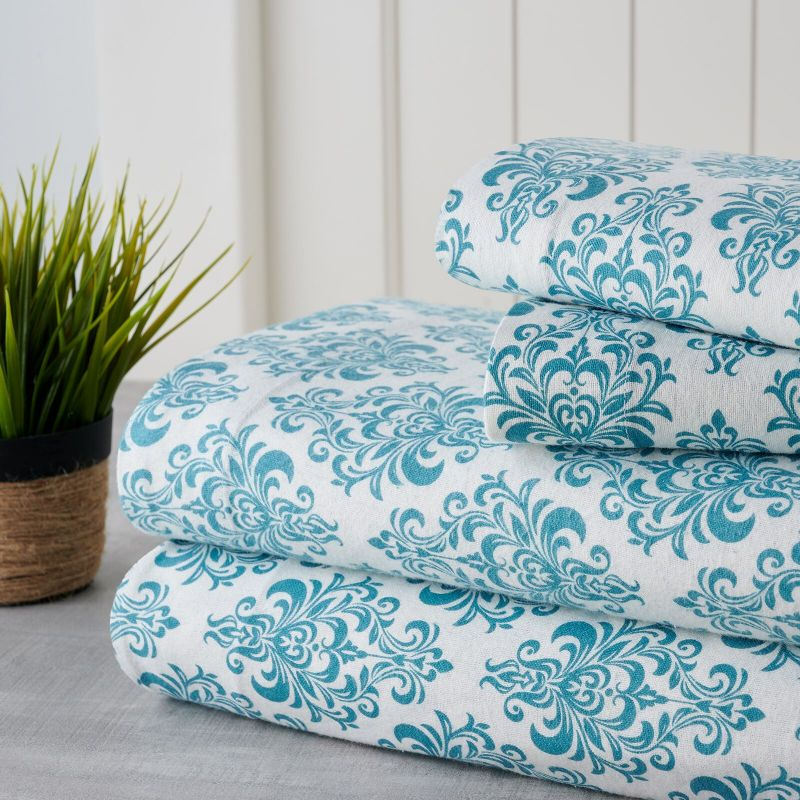 Bibb Home Holiday & Winter Printed Flannel Sheet Set 100% Cotton-Queen-Aqua Medallion-Daily Steals