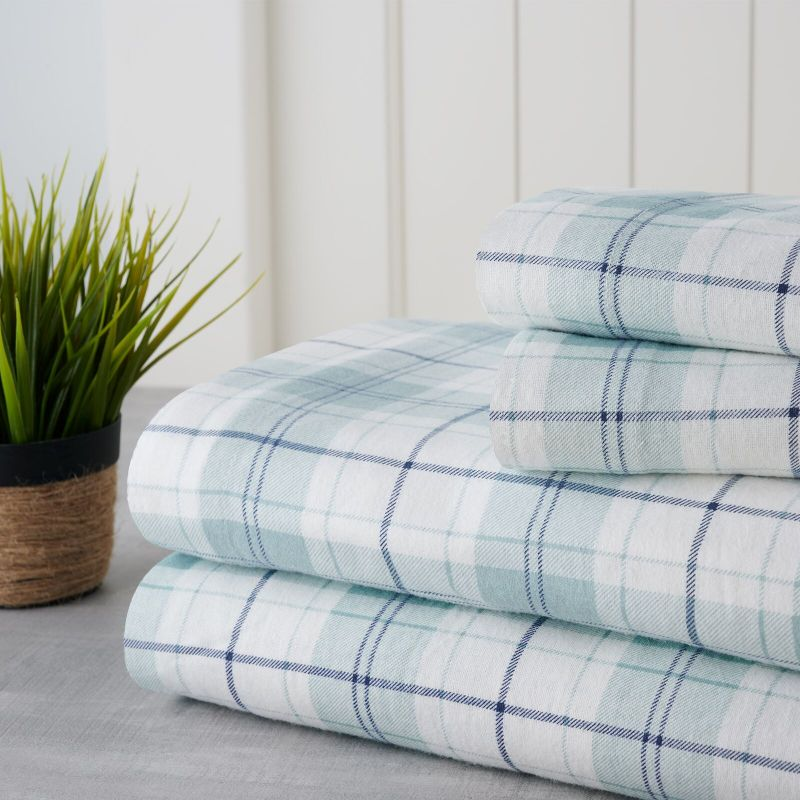 Bibb Home Holiday & Winter Printed Flannel Sheet Set 100% Cotton-Full-Blue Plaid-Daily Steals