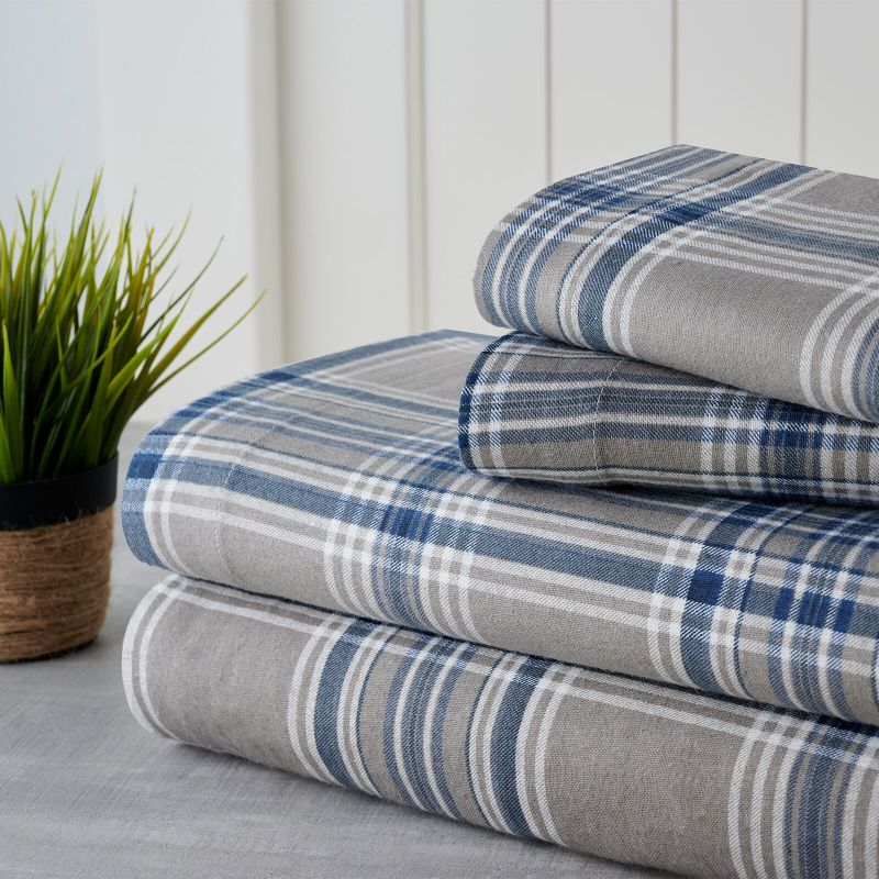 Bibb Home Holiday & Winter Printed Flannel Sheet Set 100% Cotton-Twin-Navy Plaid-Daily Steals