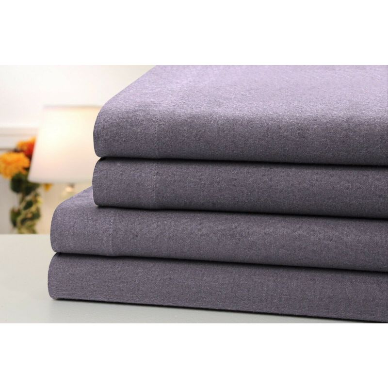4-Piece Set: Bibb Home 100% Cotton Solid Flannel Sheets - Assorted Colors-Grey-Full-Daily Steals