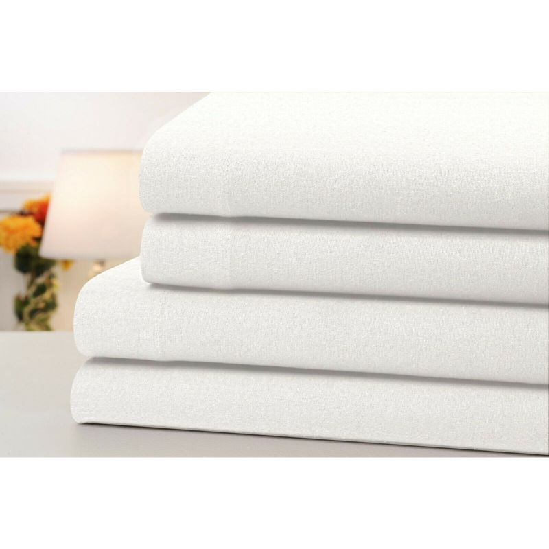 4-Piece Set: Bibb Home 100% Cotton Solid Flannel Sheets - Assorted Colors-White-Full-Daily Steals