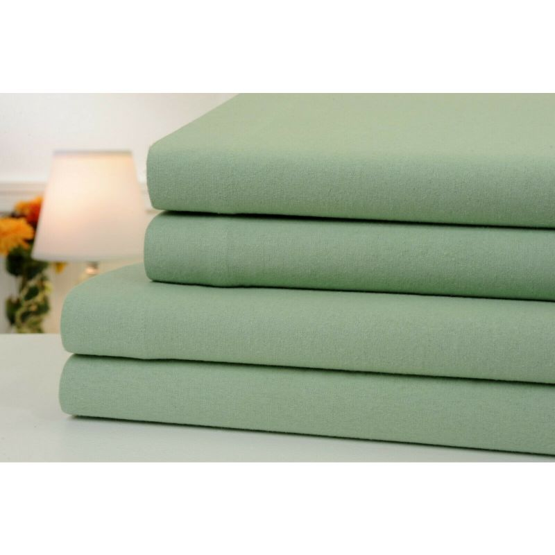 4-Piece Set: Bibb Home 100% Cotton Solid Flannel Sheets - Assorted Colors-Sage-Full-Daily Steals