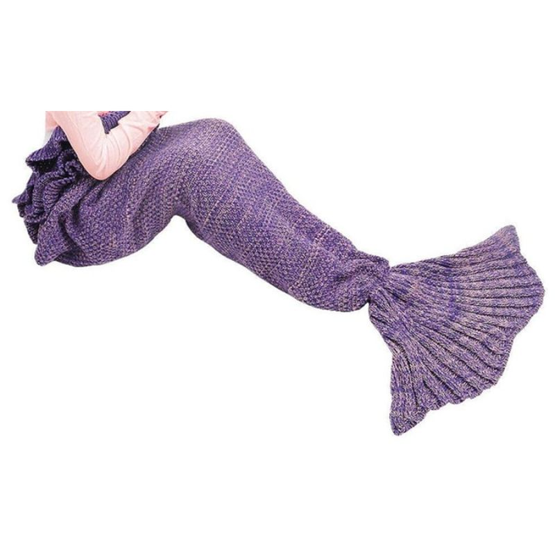 Mermaid Tail Knit Crochet Warm & Soft Blanket for Kids and Adults-Daily Steals