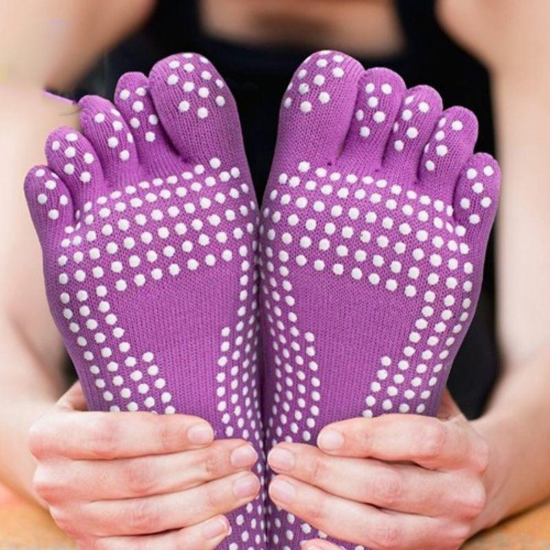 Unisex Yoga Socks - 2 Pack-Black Pair & Purple Pair-Daily Steals