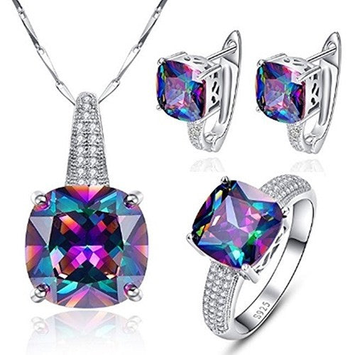 Multi Crystal Jewelry Set - Necklace Ring and Earrings-Size 6-Daily Steals
