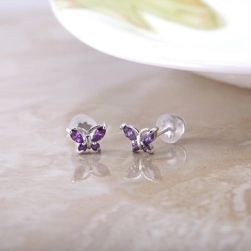 Sterling Silver Cubic Zirconia Screwback Butterfly Earrings - 2 Colors-Daily Steals