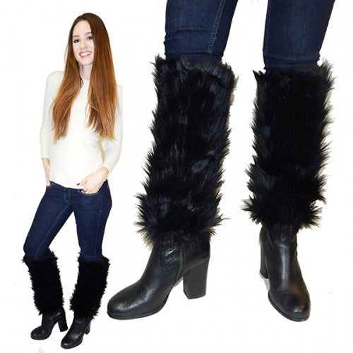 Faux Fur Leg Warmers with Comfort Fit-Black-Daily Steals