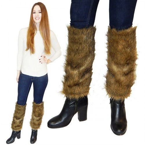 Faux Fur Leg Warmers with Comfort Fit-Brown-Daily Steals