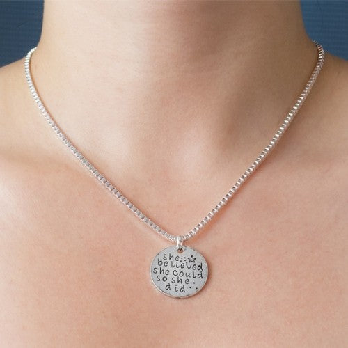Engraved ''She Believed She Could So She Did'' Inspirational Necklace-Daily Steals