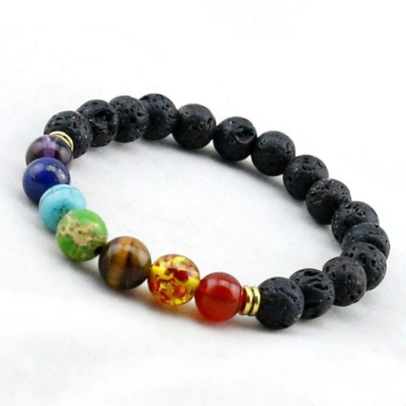 7 Genuine Chakra Healing Natural Stone Rainbow Bead Bracelet-Daily Steals