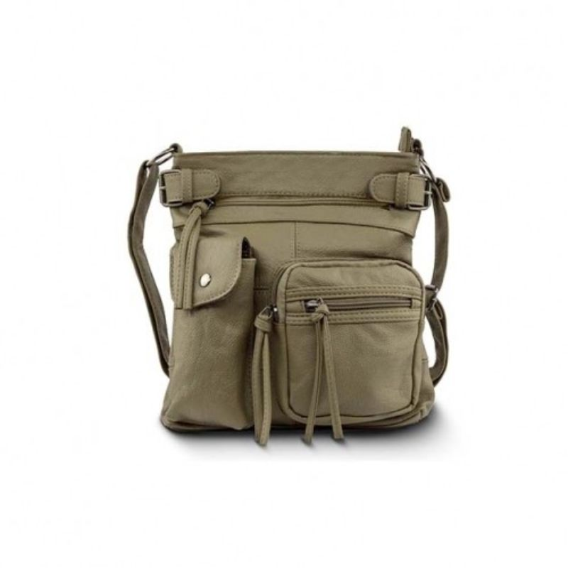 Super Soft Genuine Leather Top Belt Accent Crossbody Bag - 5 Colors-Olive-Daily Steals