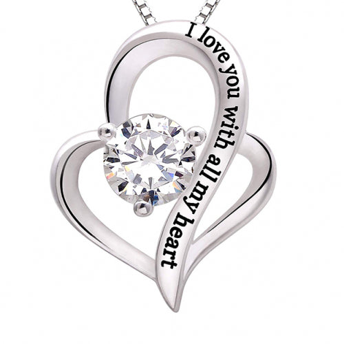 I Love You With All My Heart White Crystal Necklace in 18K White Gold-Daily Steals