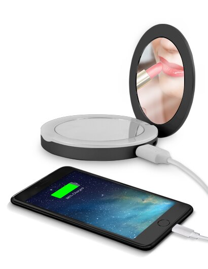 XTREME Compact Portable Light-Up Mirror Charger with LED Indicator - Black