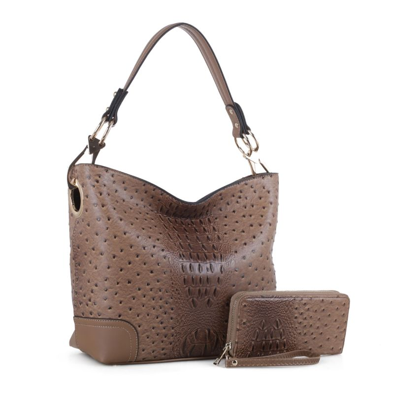 MKF Collection Wandy Hobo Handbag et portefeuille assorti - Taupe - Daily Steals