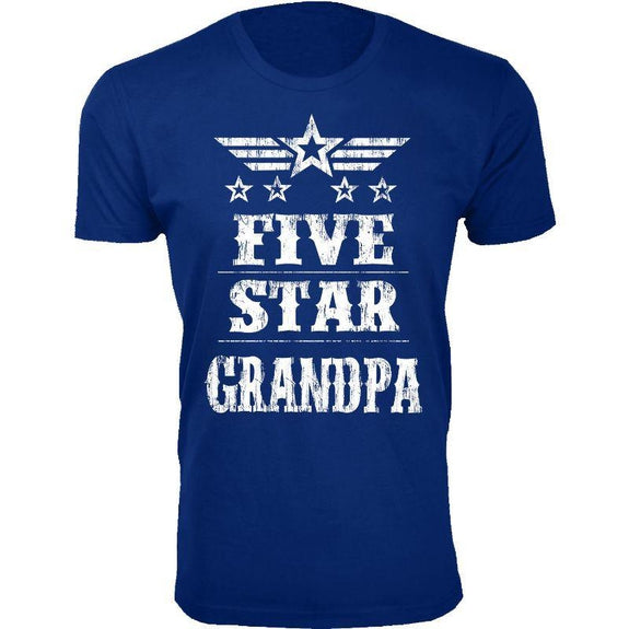 Men's Five Star Father's Day T-shirts-Grandpa - Royal Blue-S-Daily Steals