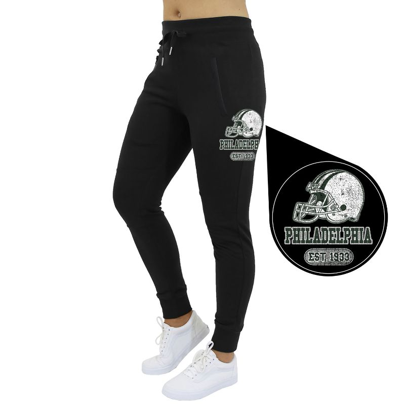 Women's Home Team Football Jogger Sweatpants-Philadelphia - Black-S-Daily Steals