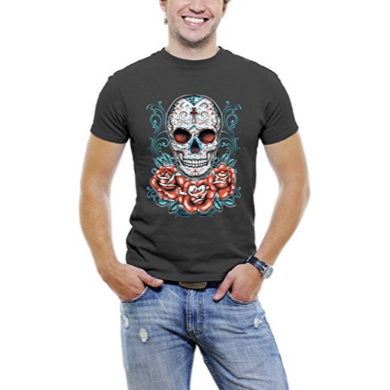 Skull Roses Tattoo - Men's T-Shirt-Black-3XL-Daily Steals