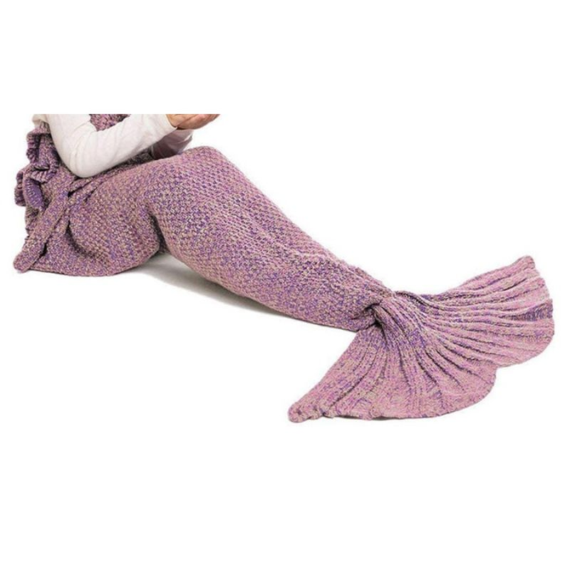 Mermaid Tail Knit Crochet Warm & Soft Blanket for Kids and Adults-Kids-Dark Pink-Daily Steals