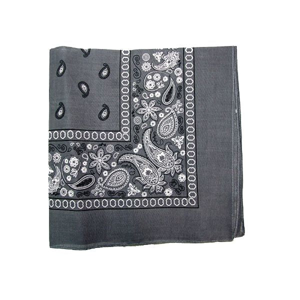 100% Cotton 18 Pack Bandana - 22 x 22-Paisley Grey-Daily Steals