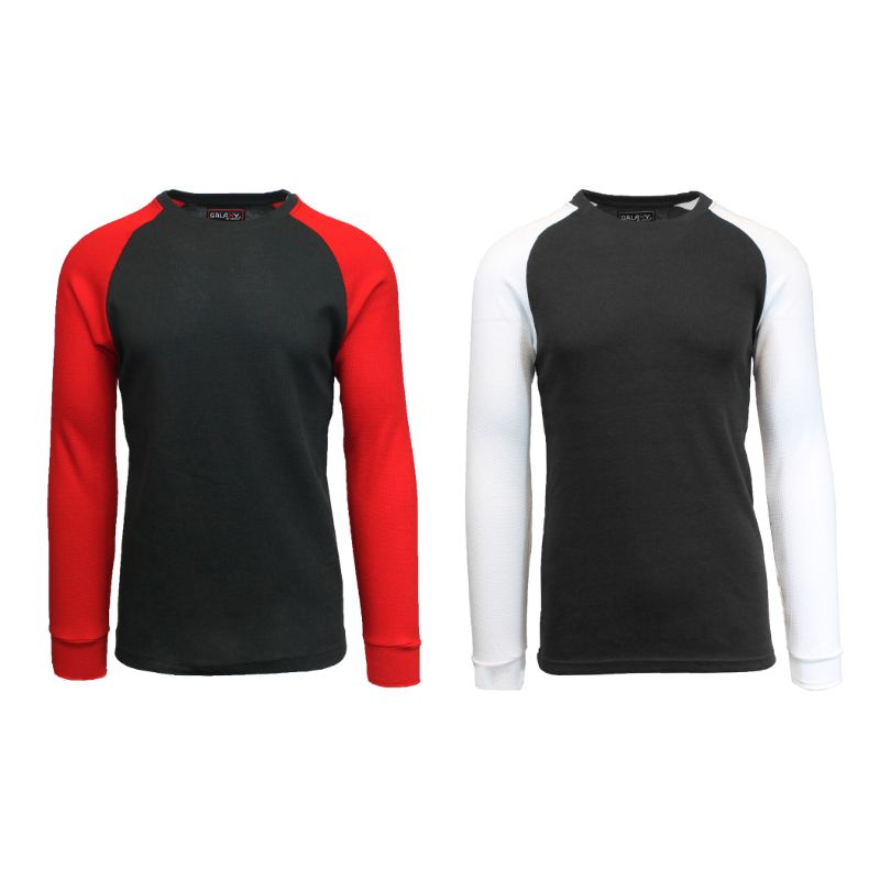 Men's Raglan Thermal Shirt - 2 Pack-Black/Red & Black/White-Small-Daily Steals