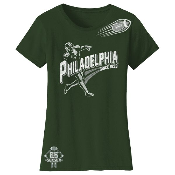 Women's Football Season T-Shirts-Philadelphia - Forest Green-S-Daily Steals