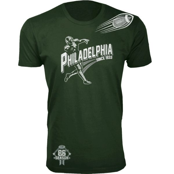 Men's Football Season T-Shirts-Philadelphia - Forest Green-S-Daily Steals