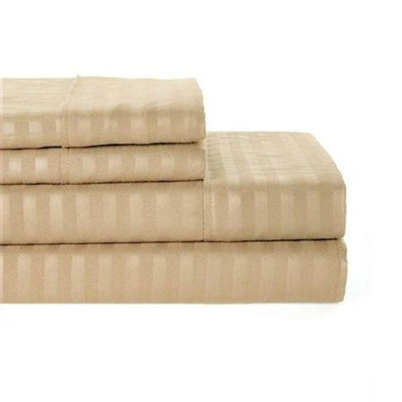Ultra-Soft Lux Decor Striped 1800 Series Sheets-Taupe-Twin-Daily Steals