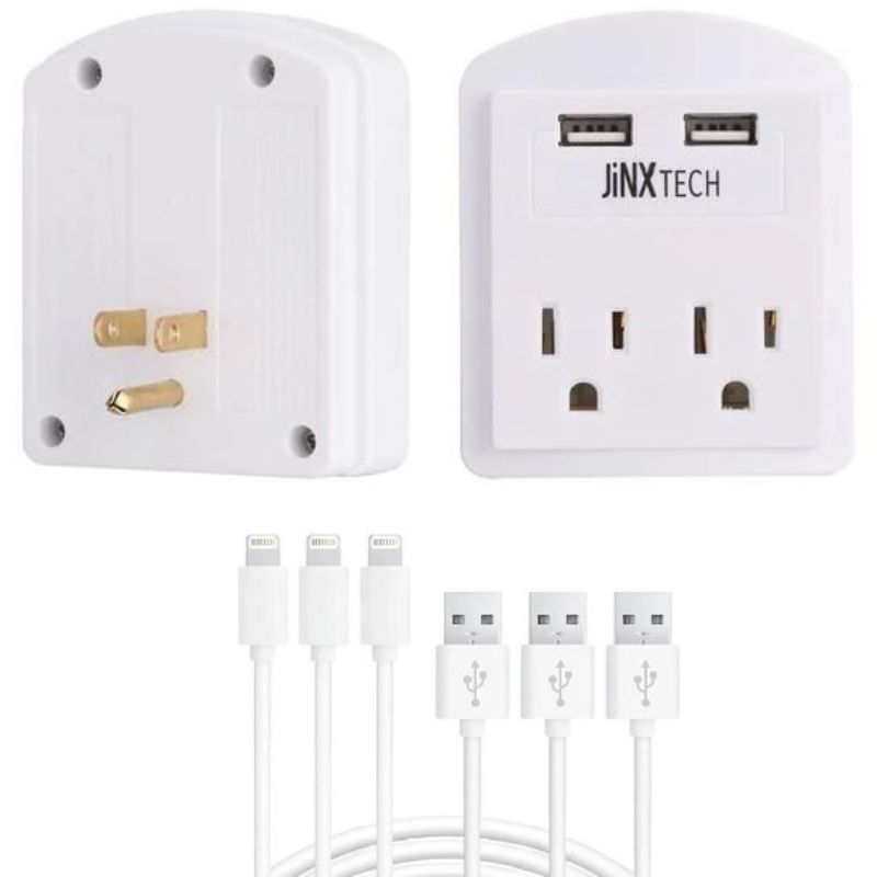 Certified 10ft Lightning Cables & Outlet Wall Tap Combo - 3 Pack-3-Pack Cable - White Outlet-Daily Steals