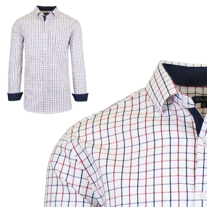 Mens Long Sleeve Slim-Fit Cotton Dress Shirts W/ Chest Pocket-White/Red-Small-Daily Steals
