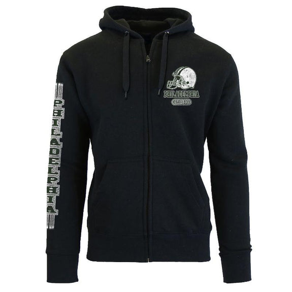 Women's Game Day Football Zip Up Hoodie-Philadelphia - Black-S-Daily Steals