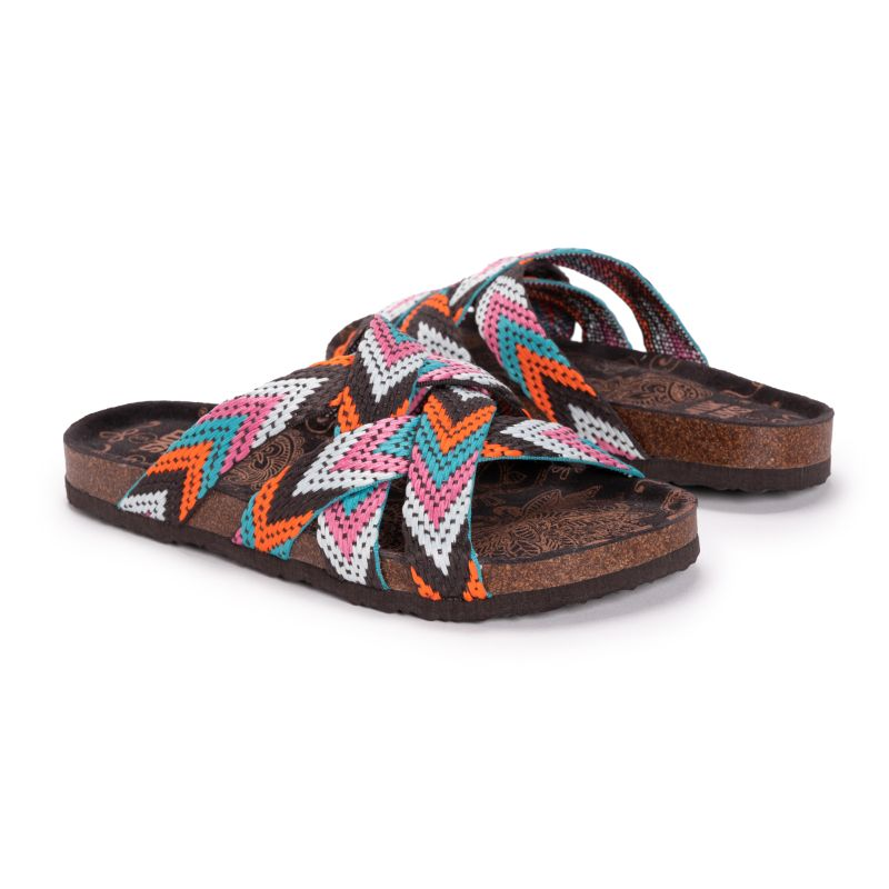 MUK LUKS Women's Sloane Sandals-Pink Multi-8-Daily Steals