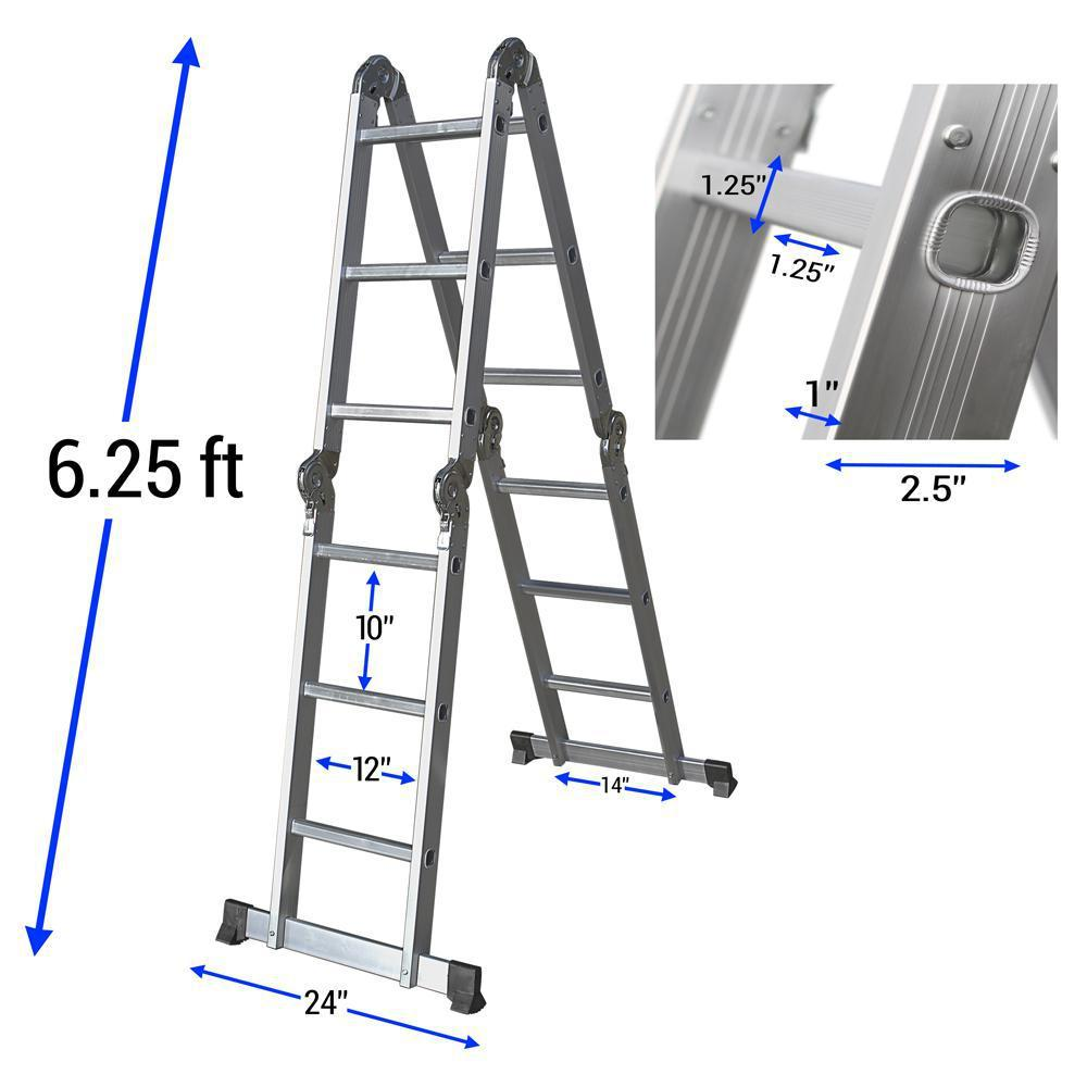 Daily Steals-12.5 Foot Multi-Purpose Aluminum Folding Ladder w/ Multi-Position Hinges & Safety Locks-Outdoors and Tactical-