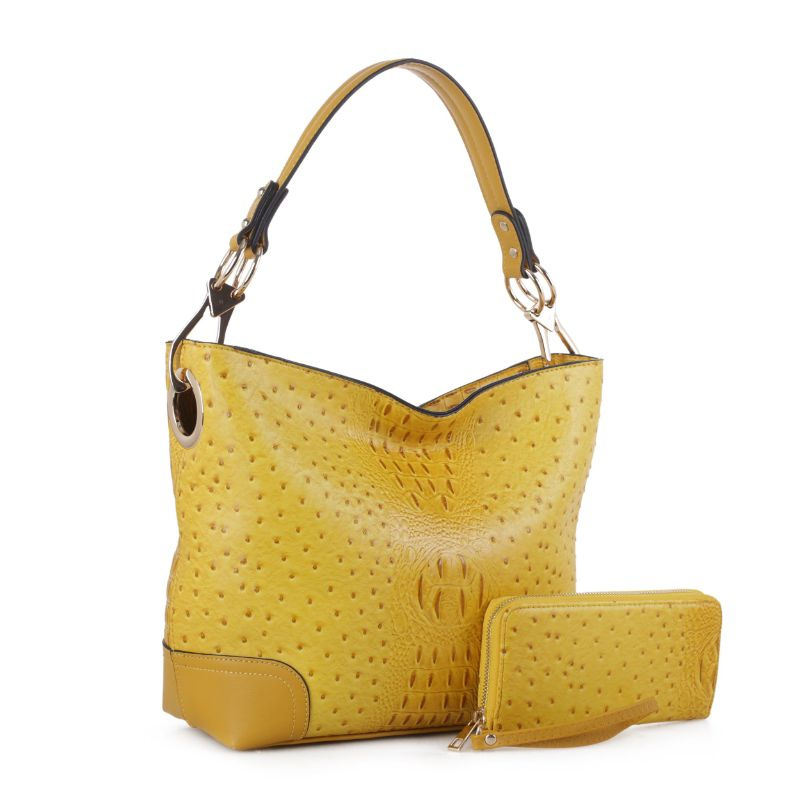 MKF Collection Wandy Hobo Sac à main et portefeuille assorti-jaune-Daily Steals