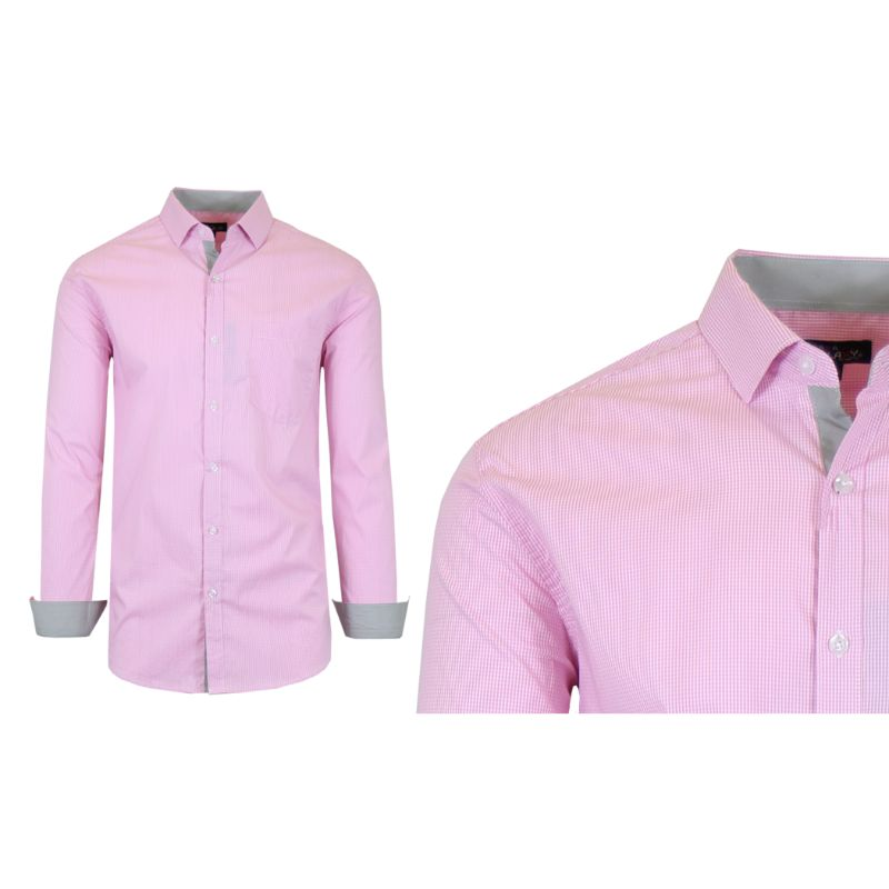 Mens Quick Dry Performance Stretch Dress Shirts-Pink/Grey-Small-Daily Steals
