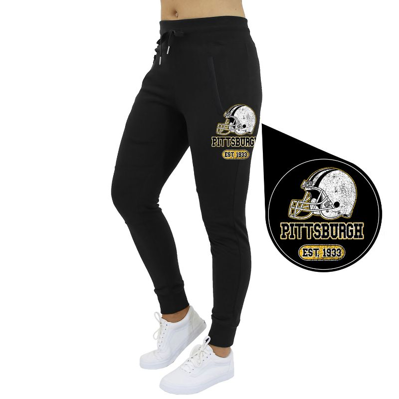 Women's Home Team Football Jogger Sweatpants-Pittsburgh - Black-S-Daily Steals
