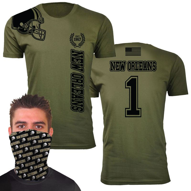 Men's Military Green Home of The Brave Football T-Shirts with Team Gaiter