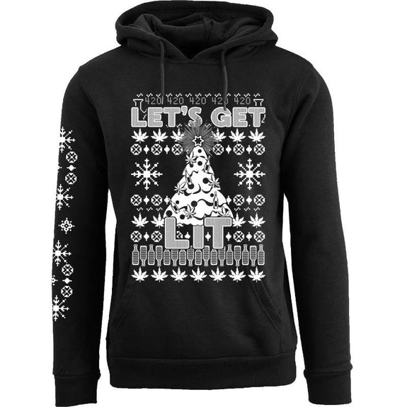 Women's Funny Christmas Pull Over Hoodie-Let's Get Lit - Black-S-Daily Steals
